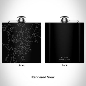 Stowe - Vermont Map Hip Flask in Matte Black