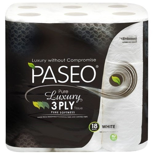 Paseo Pure Luxury Toilet Tissue 3 Ply 180 Sheets, Pack of 18 - Reinol NZ Ltd