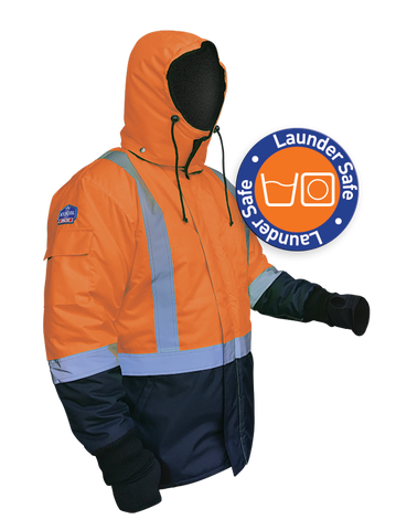 Iceking Fluro Orange/Navy Arctic Freezer Jacket - Launderable - Reinol NZ Ltd.