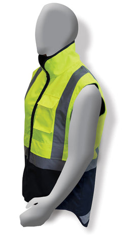Armour Hi Vis Fluro Yellow/Navy Polar Fleece Vest - Reinol NZ Ltd.