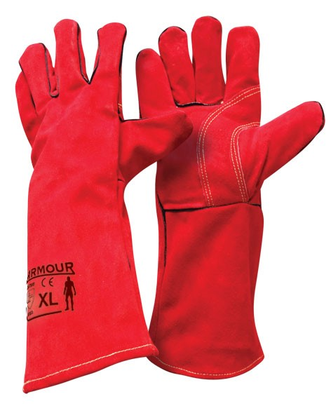 Armour Leather Red Welding Gauntlet Glove - 40cm - Reinol NZ Ltd.