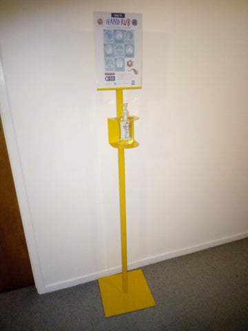 Hand Sanitiser Stand with Sign - Yellow - Reinol NZ Ltd.