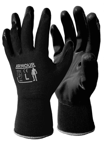 Armour Black Flat Nitrile Open Back Glove - Reinol NZ Ltd.