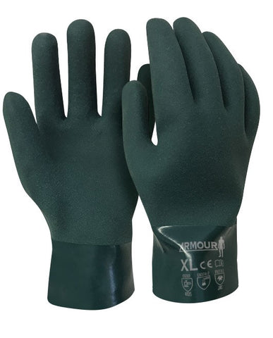 Armour Green PVC Chemical Gauntlet Glove - Reinol NZ Ltd.
