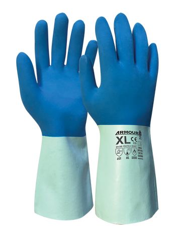 Armour Blue Latex Chemical Contact Heat Gauntlet - 30cm - Reinol NZ Ltd.