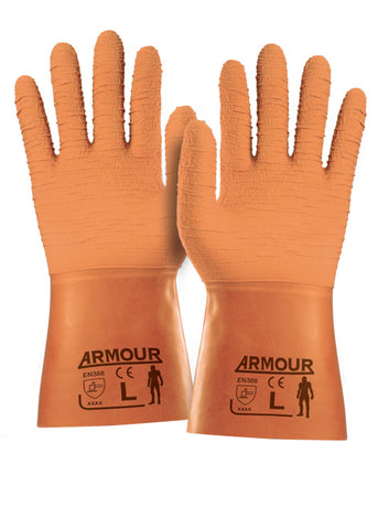 Armour® Orange Crinkle Latex Gauntlet - 30cm - Reinol NZ Ltd.