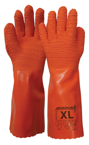 Armour® Orange Crinkle Latex Gauntlet - 35cm - Reinol NZ Ltd.