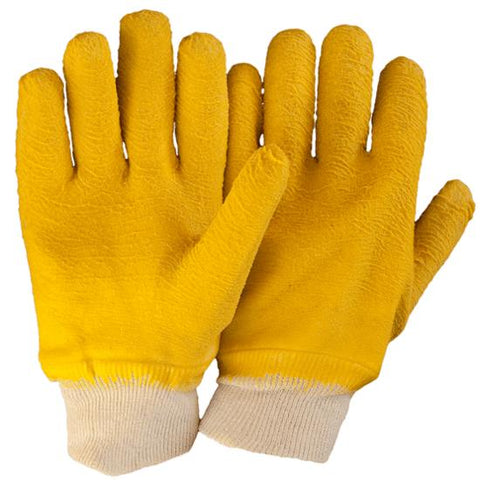 Yellow Latex Fully Coated Knit Wrist Glove - 27cm