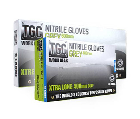 TGC WorkGear Grey Disposable Glove  400mm - Box of 40 - Reinol NZ Ltd.
