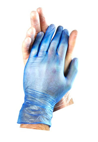 TGC Vinyl Premium Powdered Blue Disposable Glove - Box of 100 - Reinol NZ Ltd.