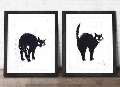 Creepy Cat and Scaredy Cat - Hand Embellished Prints