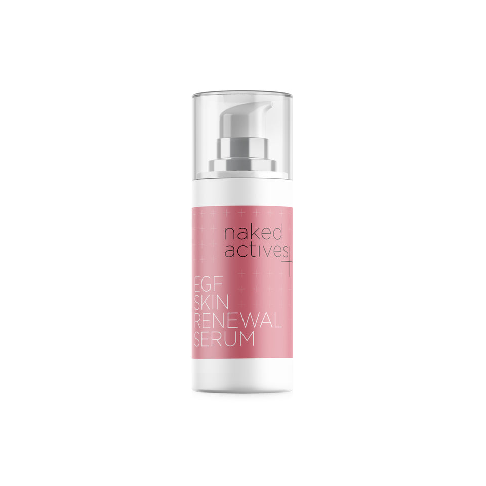 Our EGF Skin Renewal Serum is formulated with Bio Identical Epidermal Growth Factor (EGF) and has been clinically proven to combat/prevent skin aging, improve elasticity, and repair acne scars.