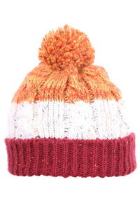 Woolly Beanie Three Stripe Vino Orange and White