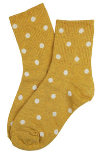 Sally Spotty Cotton Socks Mustard