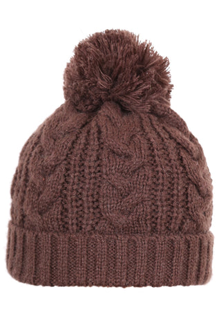 Woolly Beanie Cable Knit Brown