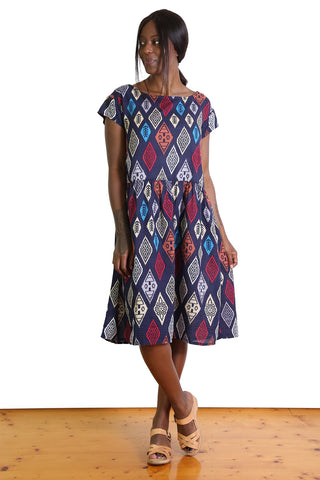 Maya Seer Dropwaist Dress Navy