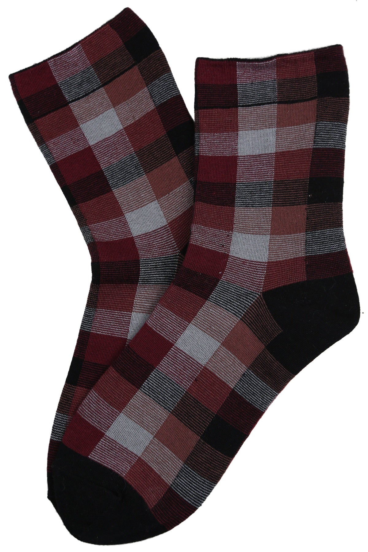 Tammy Tartan Cotton Socks Black/Vino