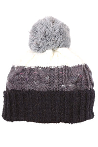 Woolly Beanie Three Stripe Black Grey and White