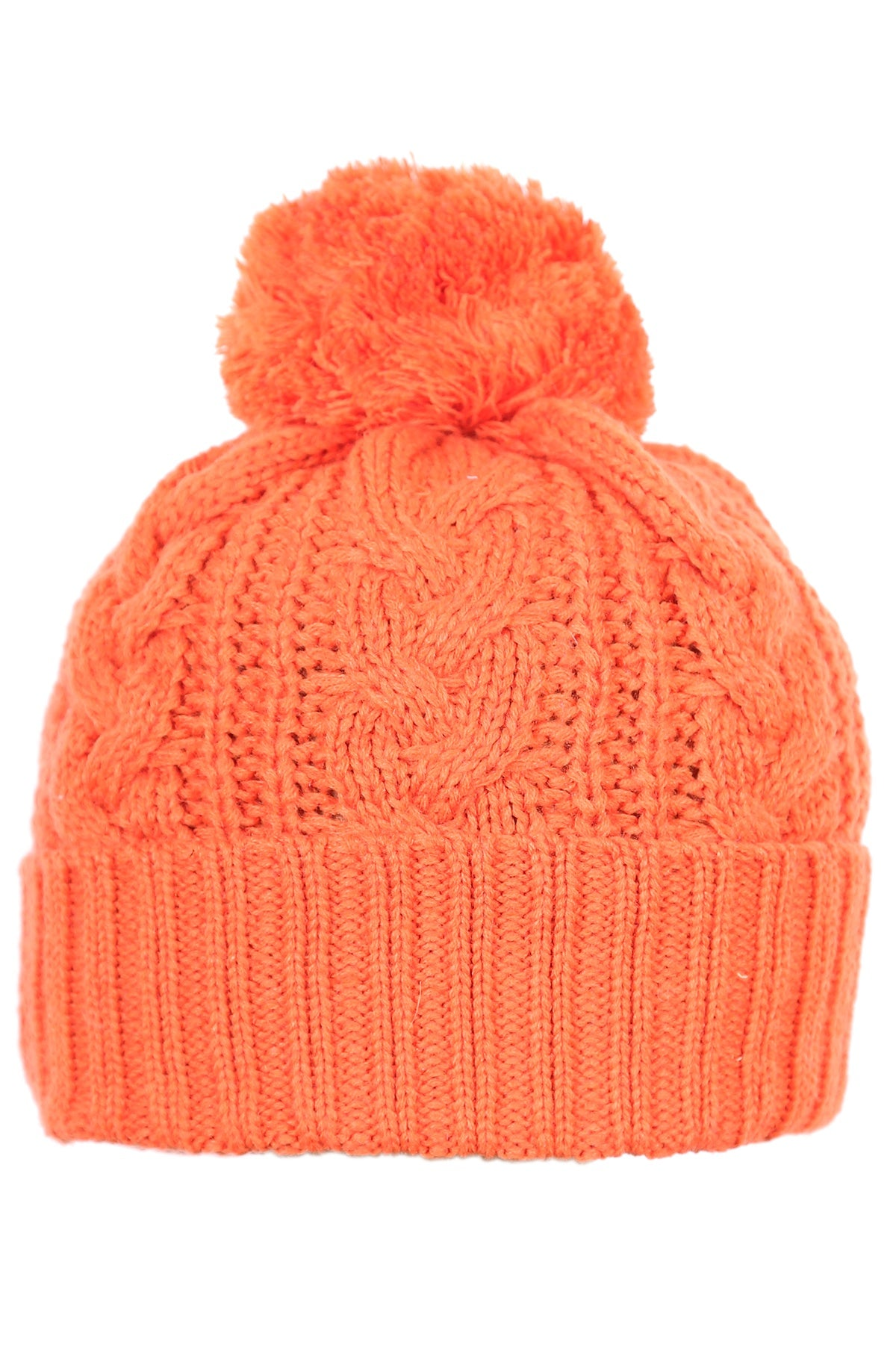 Woolly Beanie Cable Knit Orange
