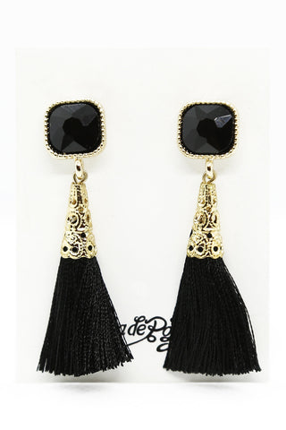 Madeline Tassel Earrings Black and Gold