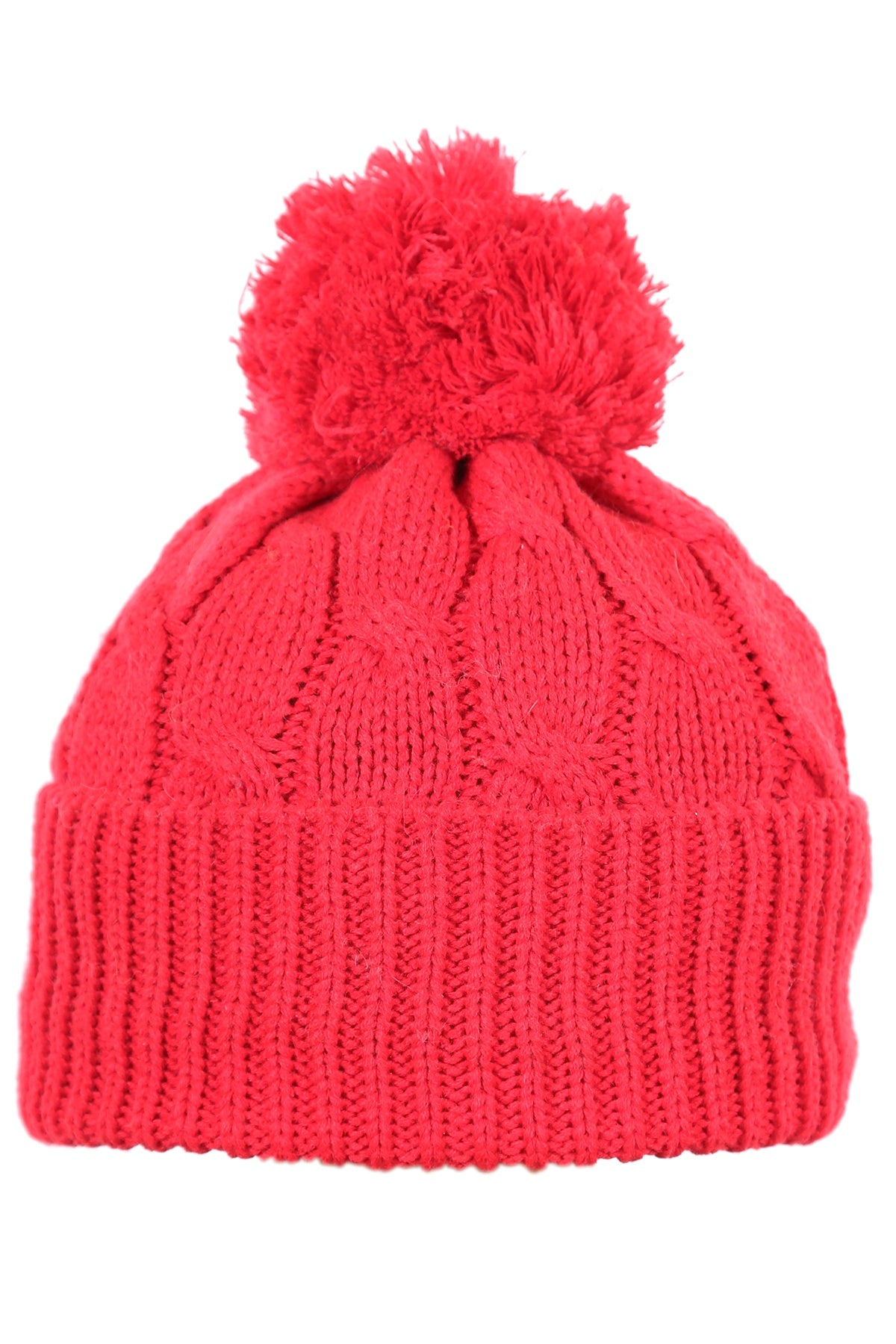 Woolly Beanie Cable Knit Red