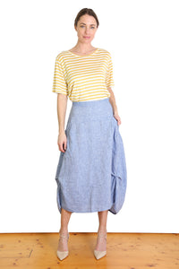 South Milwaukee Linen Skirt - Blue Chambray