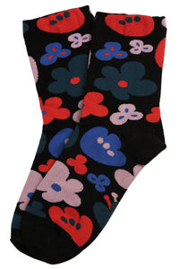 Fabulous Flower Cotton Socks Black