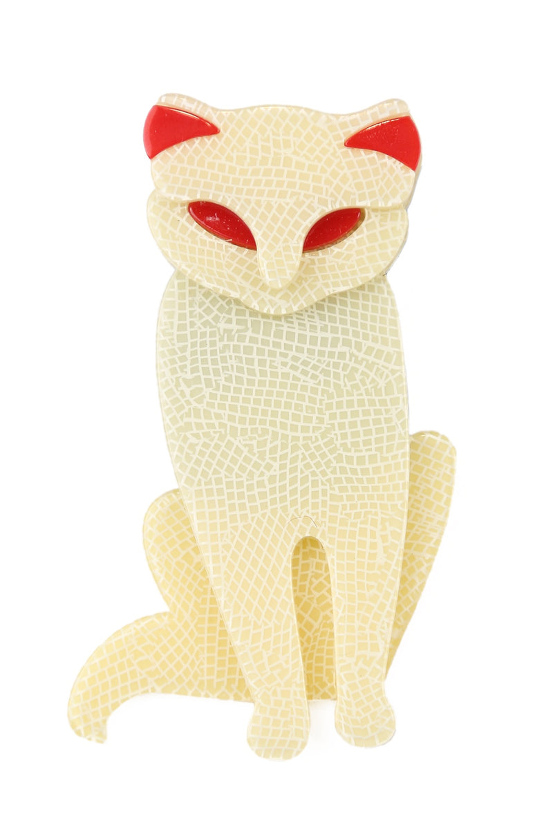Gina The White Cat Brooch