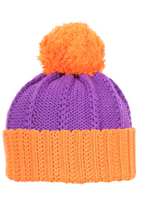 Woolly Cable Knit Beanie Orange and Purple