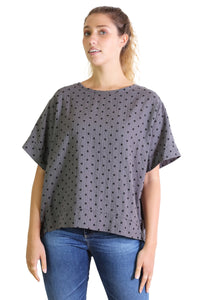 Saskia Spot Top Grey