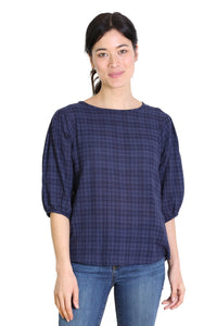 Thelma Seer Blouse Navy