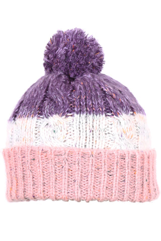 Woolly Beanie Three Stripe Pink White and Purple