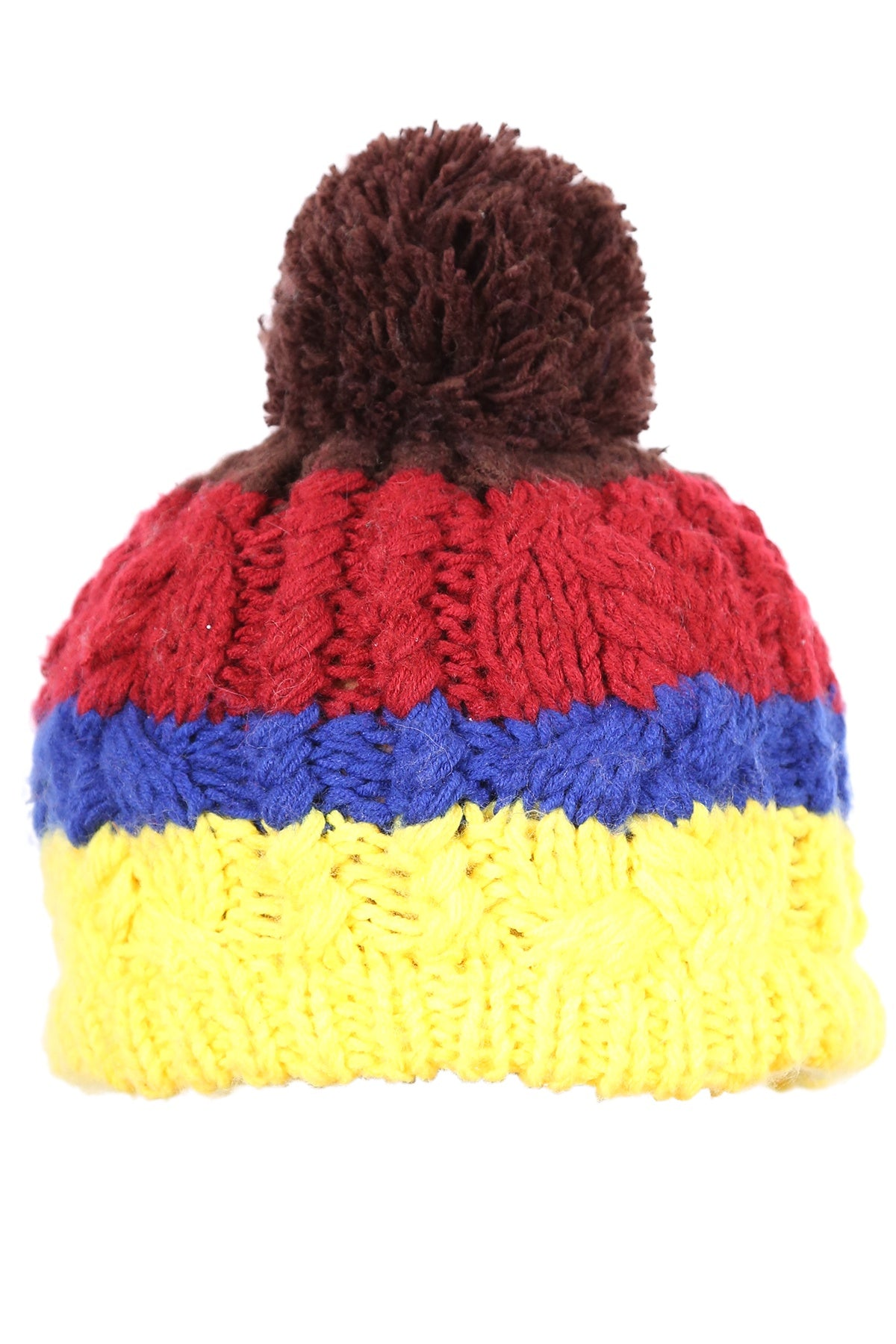 Woolly Beanie Three Stripes Yellow Blue and Vino