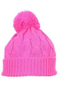 Woolly Beanie Cable Knit Hot Pink