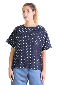 Saskia Spot Top Navy