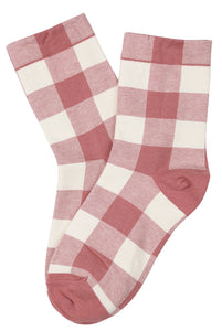 Check Mate Cotton Socks Baby Pink