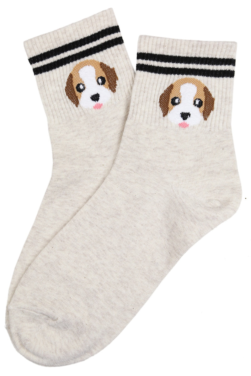 Dog Varsity Cotton Socks Cream