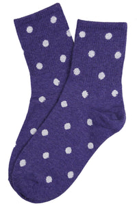 Sally Spotty Cotton Socks Purple