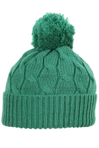 Woolly Beanie Cable Knit Emerald Green