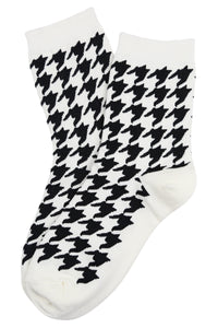 Hilary Houndstooth Cotton Socks White