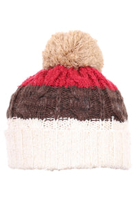 Woolly Beanie Three Stripe Cream Brown & Vino