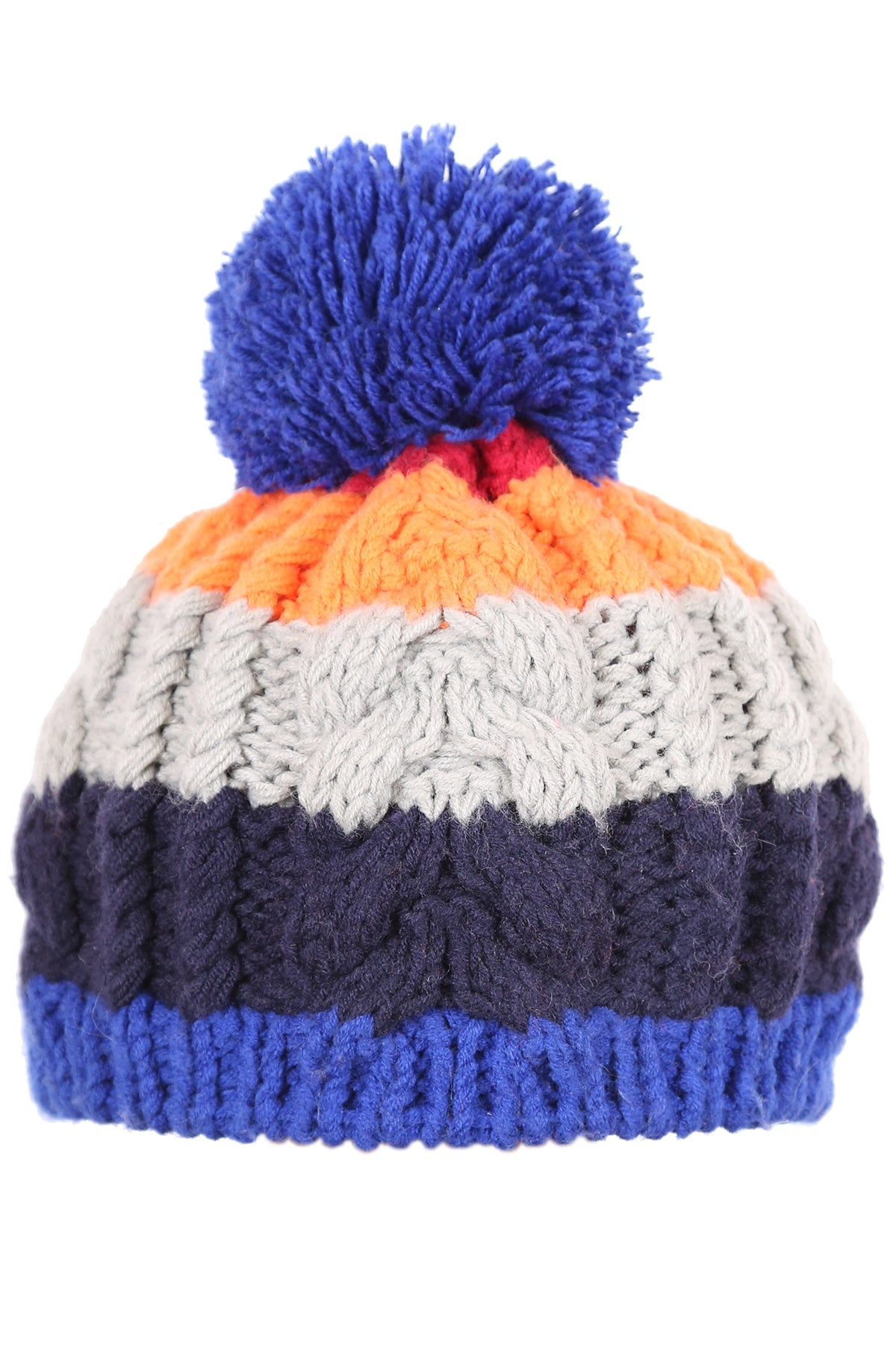 Woolly Cable Knit Beanie Four Stripe Blue