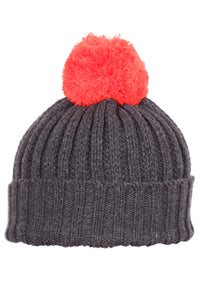 Woolly Cable Knit Beanie Charcoal and Red