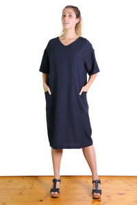 Lucille Linen Shift Dress Navy