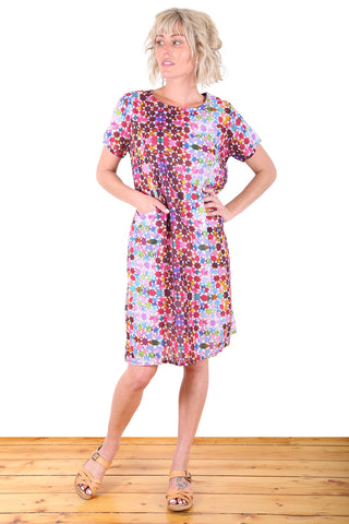 Kaleidoscope Cotton Shift Dress Pink