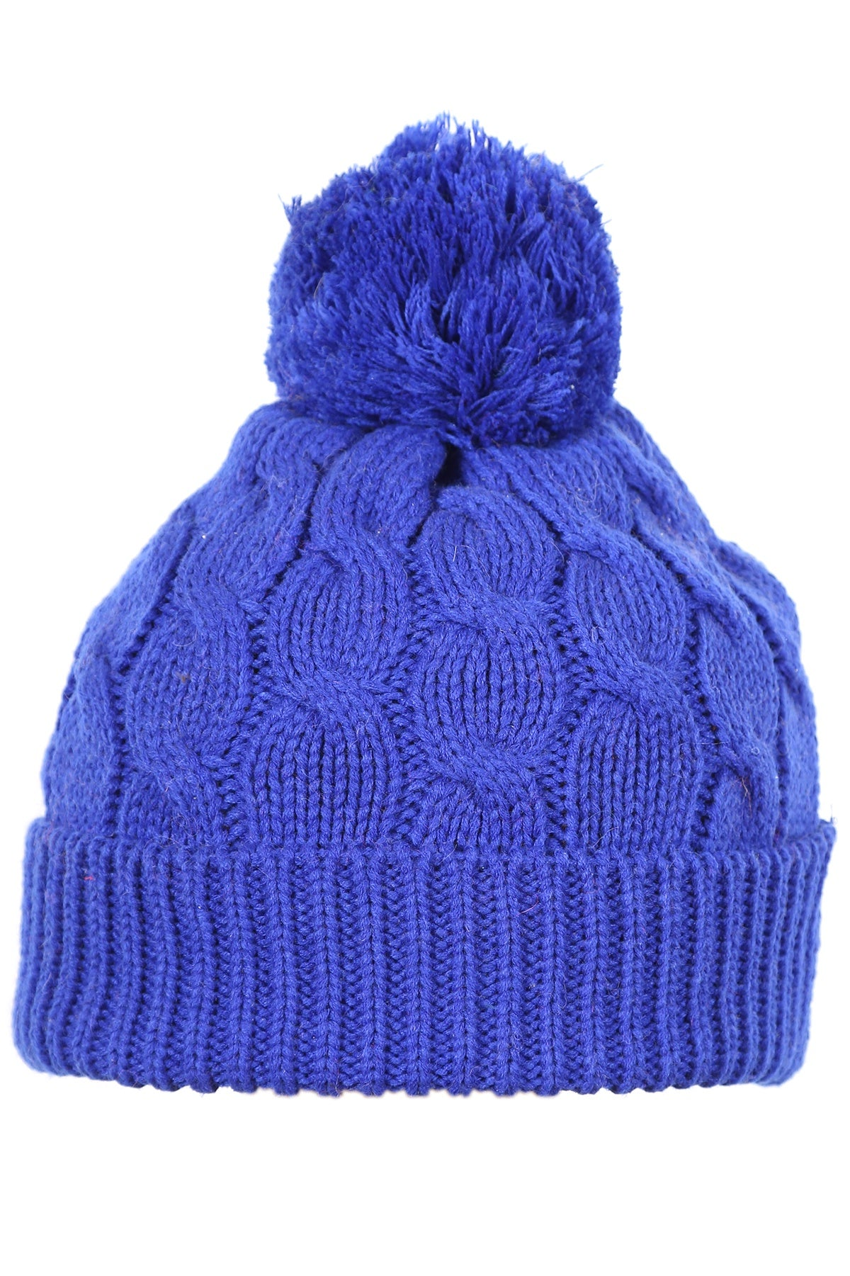 Woolly Beanie Cable Knit Royal Blue