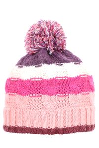 Woolly Cable Knit Beanie Four Stripe Pink