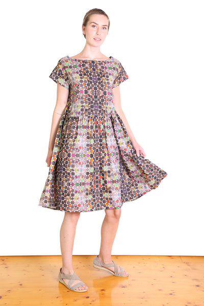 Kaleidoscope Cotton Dropwaist Dress Grey
