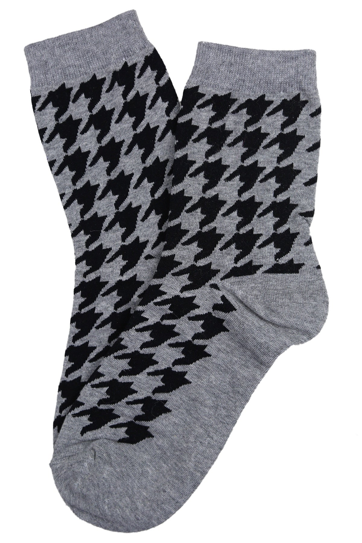Hilary Houndstooth Cotton Socks Grey