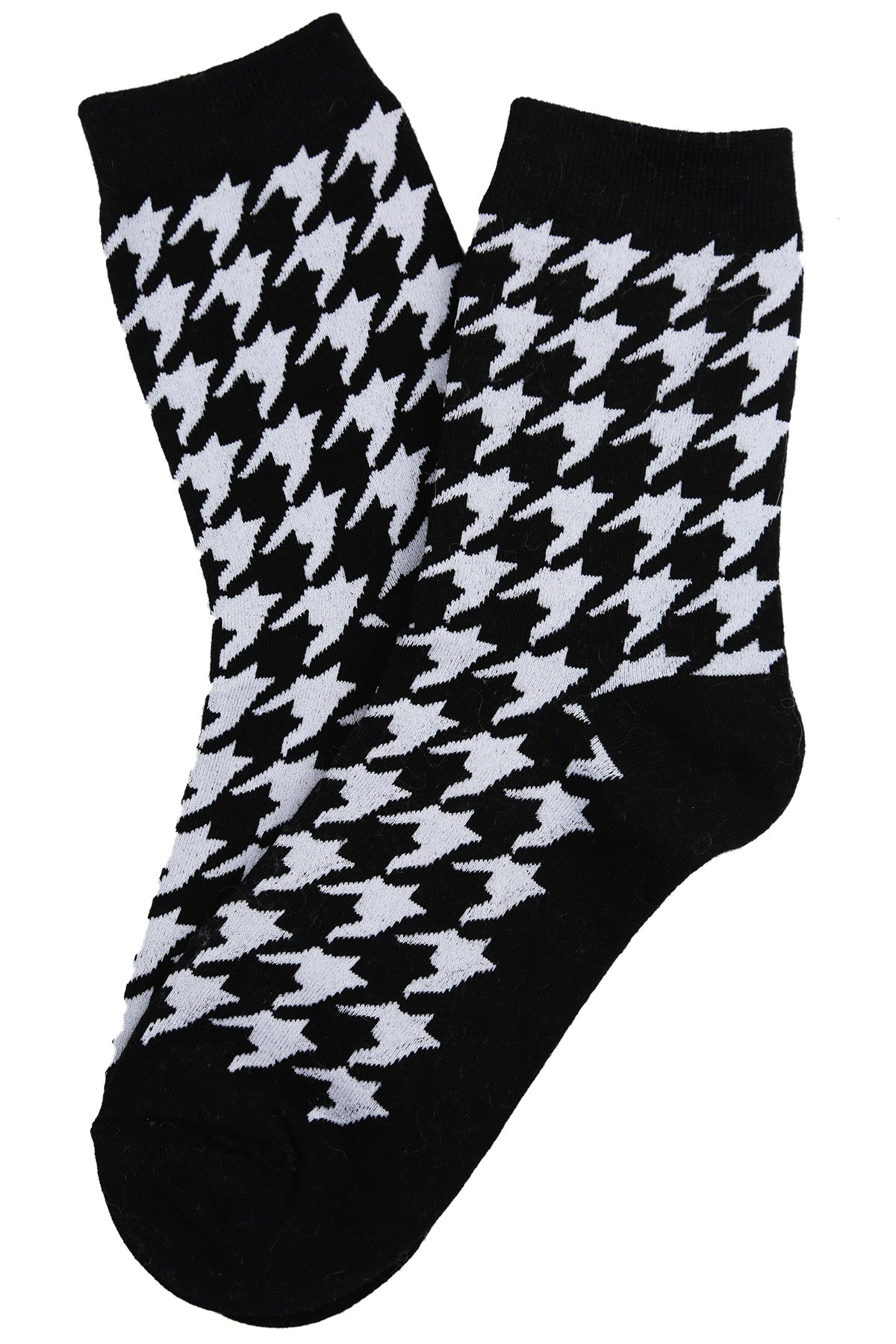 Hilary Houndstooth Cotton Socks Black